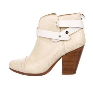 Rag & Bone Embossed White Harrow Ankle Boots